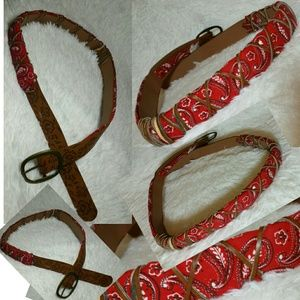 Accessories - Interwoven Bandana & Leather Belt-Brown,Red (S)